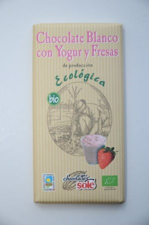 Chocolate blanco con yogurt y fresas ECO